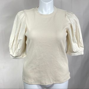 Who What Wear ribbed top with short puff sleeves